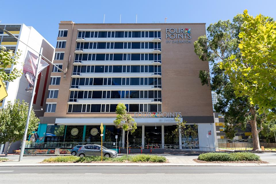 The security guard was working at the Four Points Sheraton hotel, Perth and two nearby regions went into lockdown following a Covid-19 hotel quarantine breach. Source: AAP