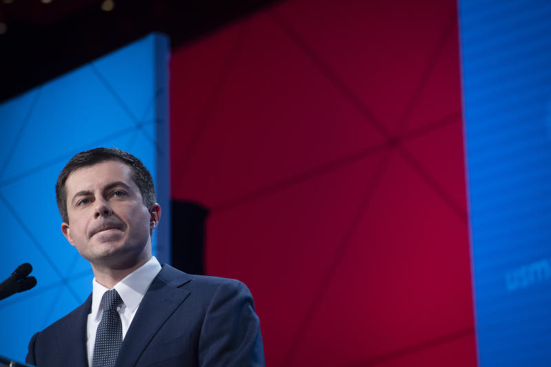 Democratic presidential candidate former South Bend, Ind., Mayor Pete Buttigieg, speaks at the U.S. Conference of Mayors' Winter Meeting, Thursday, Jan. 23, 2020, in Washington. (AP Photo/Cliff Owen)