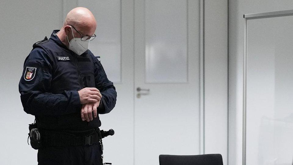 A judicial officer in the court room in Itzehoe, Germany, 30 September 2021. A