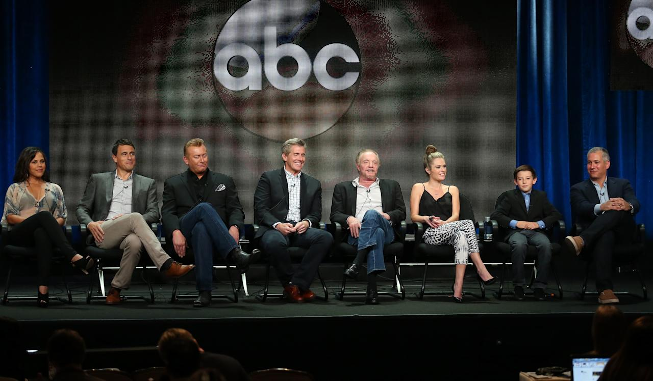 "BEVERLY HILLS, CA - AUGUST 04: Actress Lenora Crichlow, actor Benjamin Koldyke, executive producers Robb Cullen, Mark Cullen, actors James Caan, Maggie Lawson, Griffin Gluck, and executive producer Aaron Kaplan speak onstage during the ""Back in the Game"" panel discussion at the Disney/ABC Television Group portion of the Television Critics Association Summer Press Tour at the Beverly Hilton Hotel on August 4, 2013 in Beverly Hills, California. (Photo by Frederick M. Brown/Getty Images)"