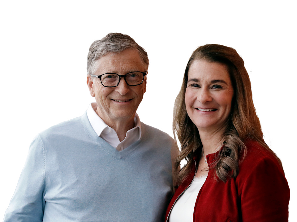 Bill and Melinda Gates (l-r), graphic element on gray