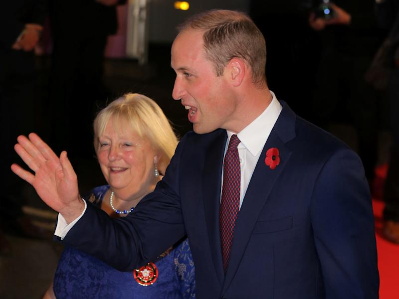 Prince William waves as he arrives for the Pride of Britain Awards in London on Oct. 30, 2017. (Paul Hackett / Reuters)