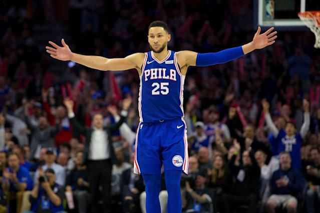 Ben Simmons basks in the 76ers' rout over the Nets in the fourth quarter Monday night. (Getty Images)