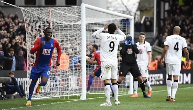 <p>Crystal Palace's Christian Benteke celebrates after Watford's Troy Deeney scores an own goal and the first for Crystal Palace </p>