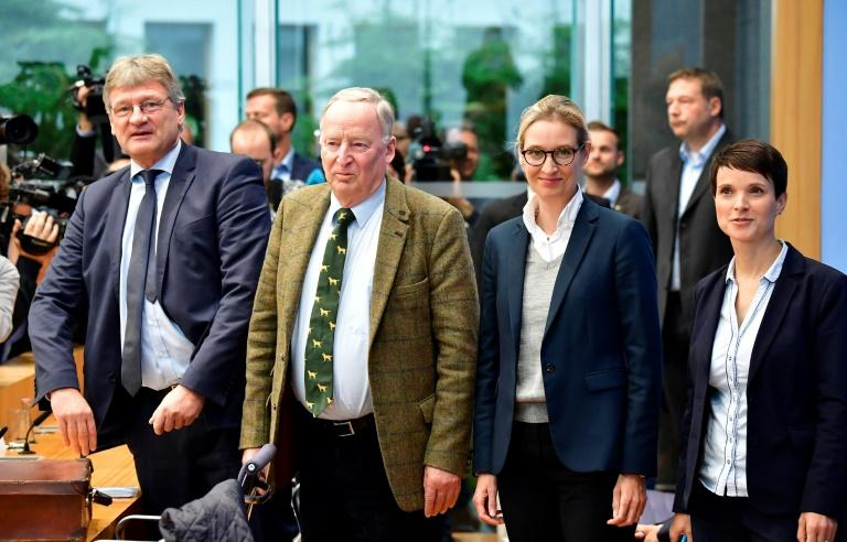 Alexander Gauland (2nd L) of the far-right Alternative fur Deutschland party has said the Nazi era was only 'a speck of bird shit' in German history (AFP Photo/Tobias SCHWARZ)