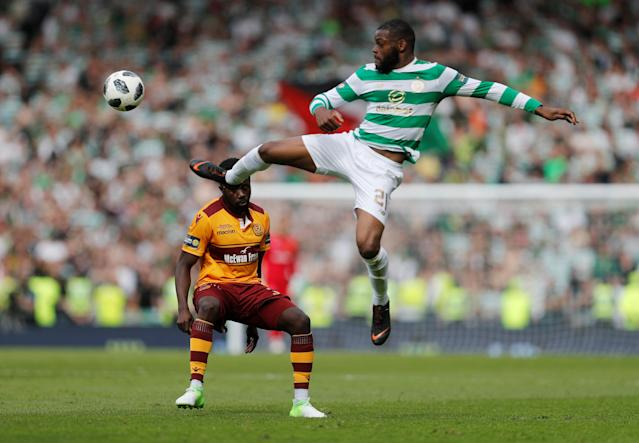 Soccer Football - Scottish Cup Final - Celtic vs Motherwell - Hampden Park, Glasgow, Britain - May 19, 2018 Celtic's Olivier Ntcham in action with Motherwell's Gael Bigirimana REUTERS/Russell Cheyne