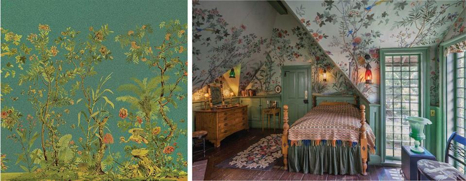 "<p>A room famous for its green trim and luscious wallpaper, <a href=""https://www.zuber.fr/en"" rel=""nofollow noopener"" target=""_blank"" data-ylk=""slk:Zuber"" class=""link rapid-noclick-resp"">Zuber</a> is the designer for the dreamy walls of Belfry Chamber at the Sleeper-McCann House in Gloucester, Massachusetts. This 1832 chinoiserie is still hand-painted today, and designer Henry Davis Sleeper used this pattern to minimize the odd angles of the room by cutting out birds and flowers and reapplying them in different areas to hide seams.</p>"