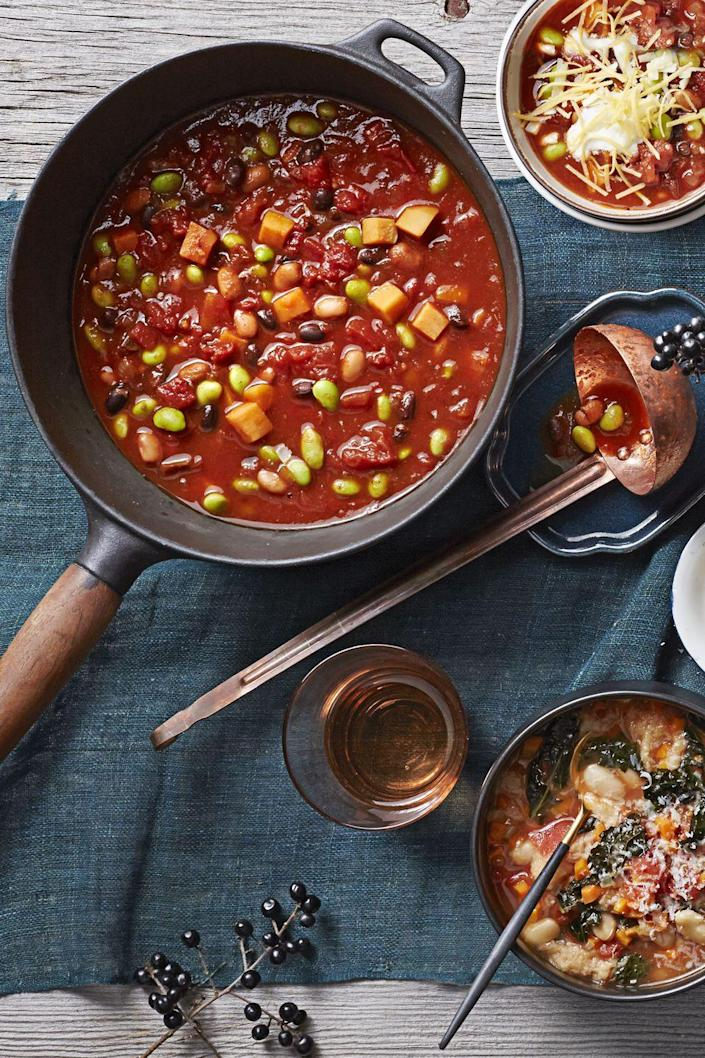 """<p>Forgo the beef and add beans and sweet potatoes to the pot, instead. The results are so satisfying, even the die-hard meat-lovers won't be disappointed.</p><p><em><a href=""""https://www.goodhousekeeping.com/food-recipes/a16841/3-bean-sweet-potato-chili-recipe-ghk0215/"""" rel=""""nofollow noopener"""" target=""""_blank"""" data-ylk=""""slk:Get the recipe for 3-Bean Sweet Potato Chili »"""" class=""""link rapid-noclick-resp"""">Get the recipe for 3-Bean Sweet Potato Chili »</a></em> </p>"""