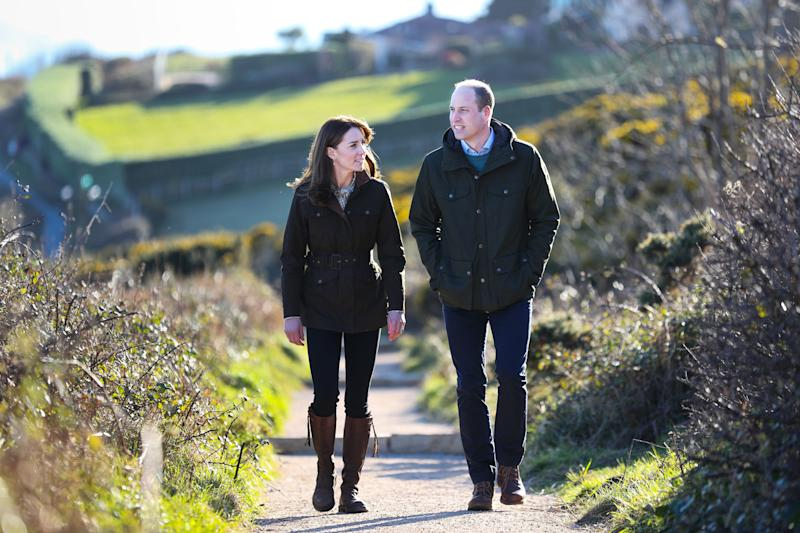 DUBLIN, IRELAND - MARCH 04: Prince William, Duke of Cambridge and Catherine, Duchess of Cambridge walk the cliff walk at Howth on March 04, 2020 in Dublin, Ireland. (Photo by Julien Behal/Pool/Samir Hussein/WireImage)