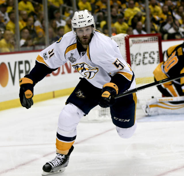 FILE - In this May 31, 2017, file photo, Nashville Predators' Austin Watson (51) plays against the Pittsburgh Penguins during Game 2 of the NHL Stanley Cup Finals hockey game, in Pittsburgh. Police in Tennessee have arrested Nashville Predators forward Austin Watson on a charge of domestic assault. Franklin Police Lt. Charles Warner said Watson was arrested Saturday evening, June 16, 2018.(AP Photo/Keith Srakocic, File)