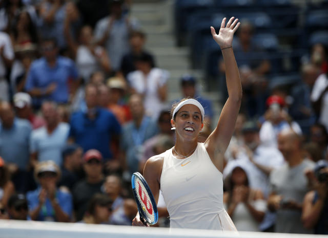 Madison Keys celebrates after defeating Aleksandra Krunic, of Serbia, during the third round of the U.S. Open tennis tournament, Saturday, Sept. 1, 2018, in New York. (AP Photo/Jason DeCrow)
