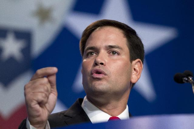 Sen. Marco Rubio R-Fla., gestures as he speaks during the Values Voter Summit, held by the Family Research Council Action, Friday, Oct. 11, 2013, in Washington. ( AP Photo/Jose Luis Magana)