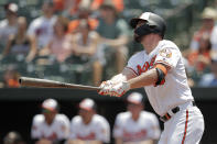 Baltimore Orioles' Trey Mancini watches his home run off Boston Red Sox starting pitcher Andrew Cashner during the first inning of a baseball game, Sunday, July 21, 2019, in Baltimore. (AP Photo/Julio Cortez)