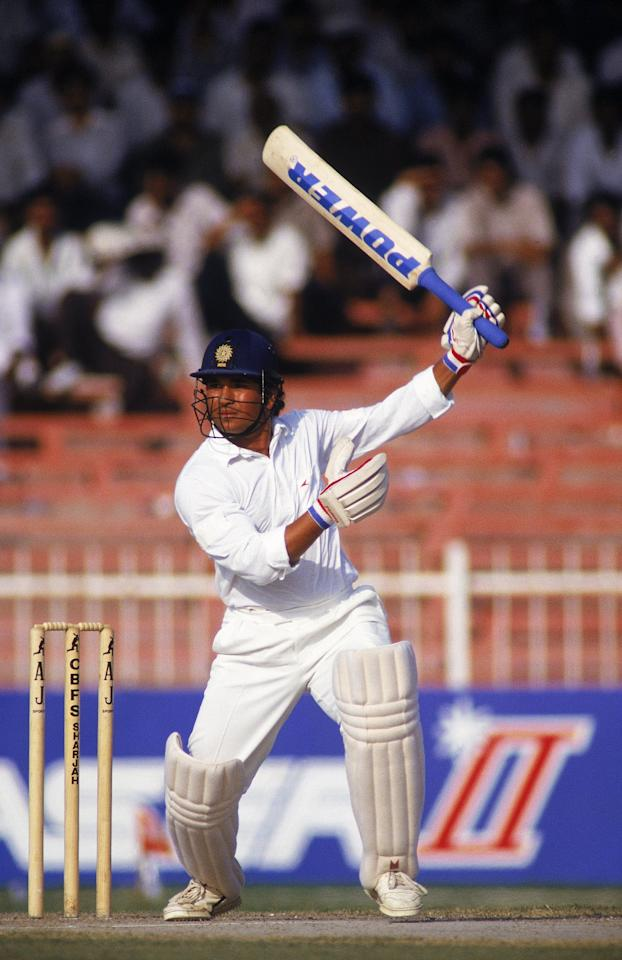 Oct 1991:  Sachin Tendulkar of India in action during the Sharjah Cricket Tournament held in Sharjah, United Arab Emirates. \ Mandatory Credit: Ben Radford /Allsport