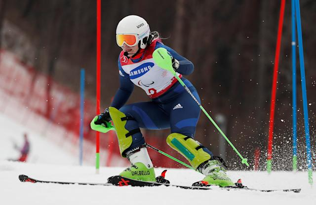 Alpine Skiing - Pyeongchang 2018 Winter Paralympics - Women's Slalom - Visually Impaired - Run 1 - Jeongseon Alpine Centre - Jeongseon, South Korea - March 18, 2018 - Kelly Gallagher of Britain. REUTERS/Paul Hanna