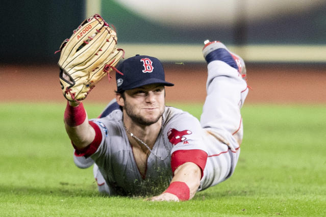 Andrew Benintendi's catch saved the day for the Boston Red Sox in ALCS Game 4. (Getty Images)