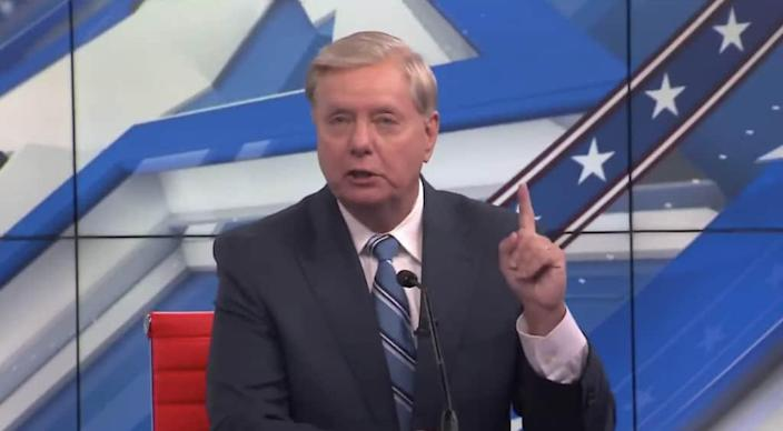 Sen. Lindsey Graham, R-S.C., appears in a candidate forum on Friday, Oct. 9, 2020, weeks away from Election Day. The senior senator is deadlocked in the polls with Democratic challenger Jamie Harrison. (via screenshot of WLTX-19)