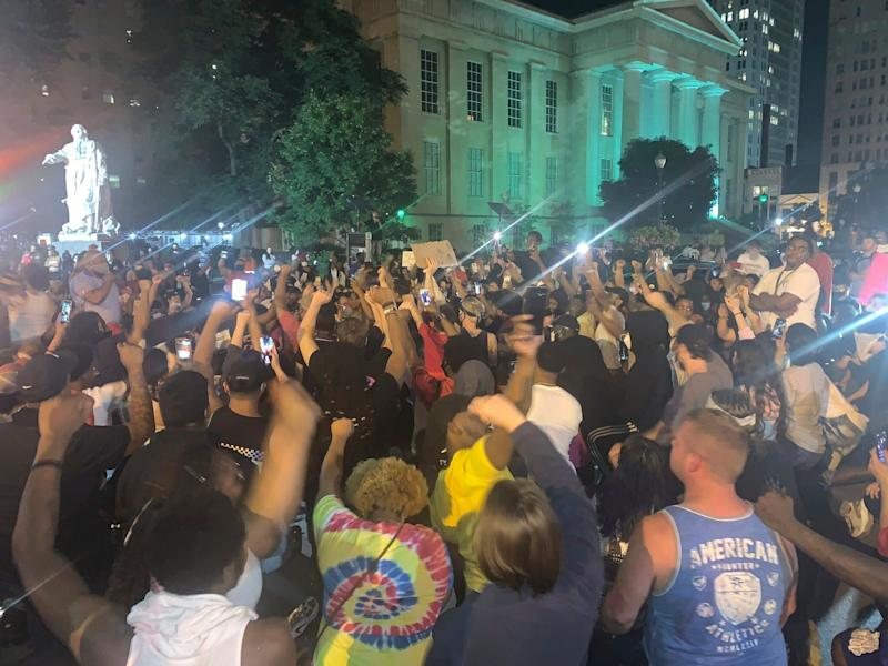 A demonstration in downtown Louisville, KY to protest the death of Breonna Taylor: AP