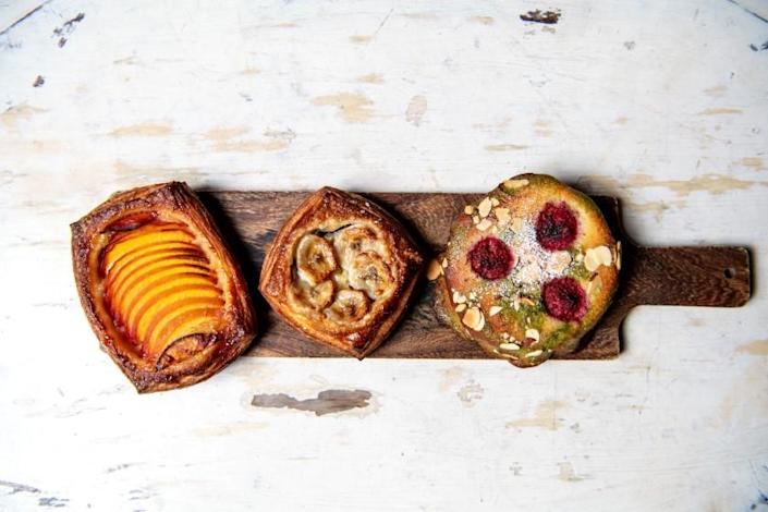 """Peach danish, banana Nutella crostata and matcha raspberry bostock, from République's selection of pastries in summer 2019. <span class=""""copyright"""">(Mariah Tauger / Los Angeles Times)</span>"""