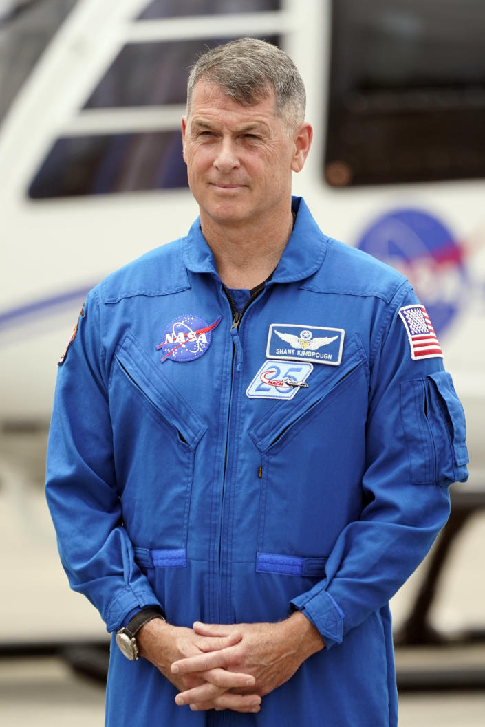 SpaceX Crew 2 member NASA astronaut Shane Kimbrough arrives at the Kennedy Space Center in Cape Canaveral, Fla., Friday, April 16, 2021. The launch to the International Space Station is targeted for April 22. (AP Photo/John Raoux)