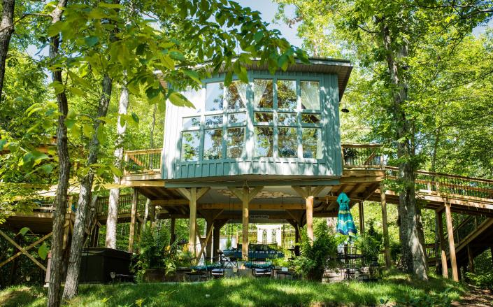 """Sulfer Ridge, """"Tennessee's first luxury treehouse"""" stands 15 feet in the air. Photo credit: Nancy Center."""