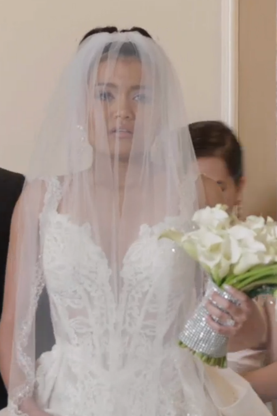 <p>Although Laura and Hakeem Lyon didn't end up marrying in season 2 (spoiler alert, sorry!), the bride still looked flawless with her veil pulled over her dress, which featured see-through lace detail. </p>