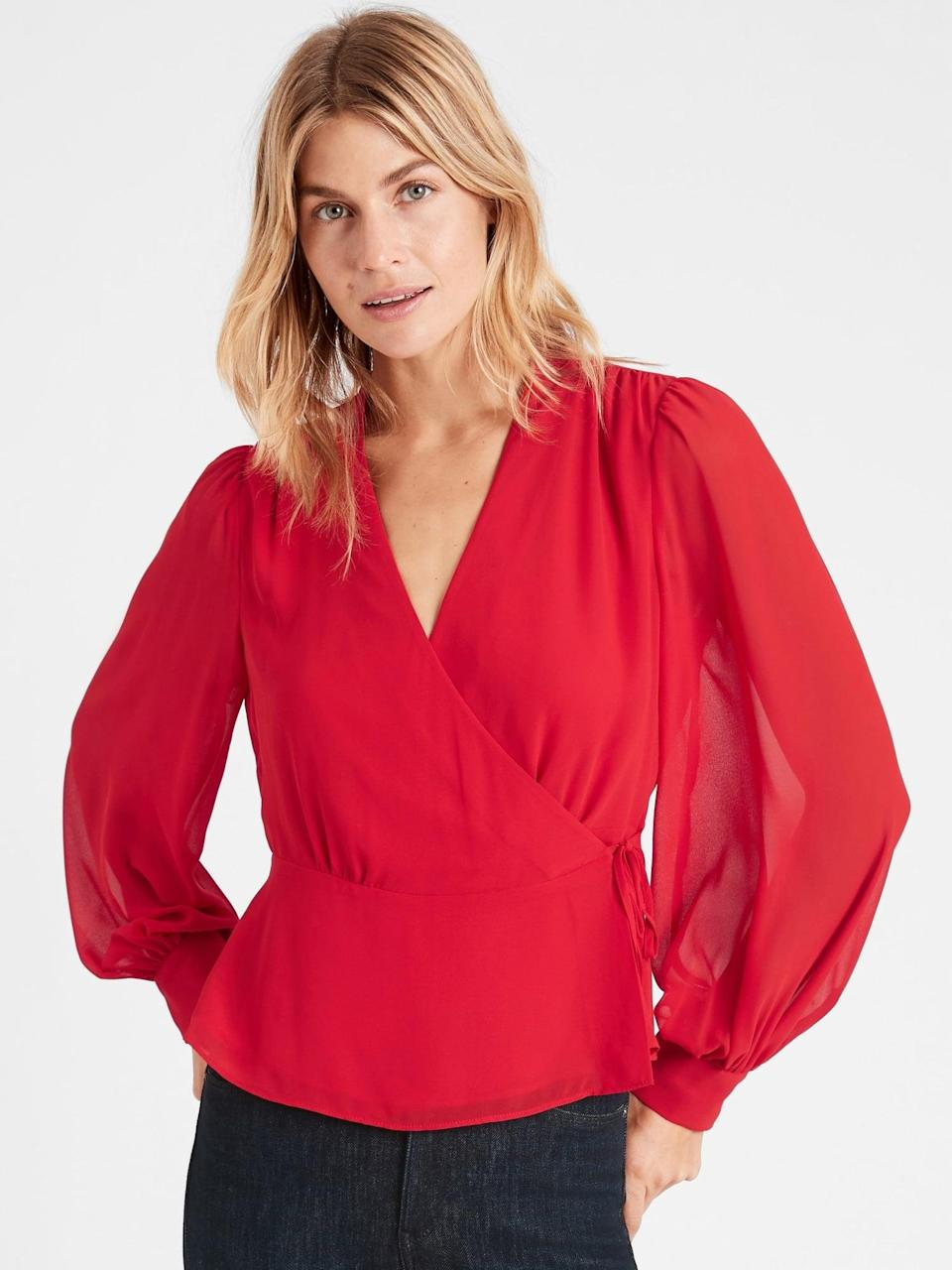 <p><span>Banana Republic Wrap-Top</span> ($40, originally $80)</p>