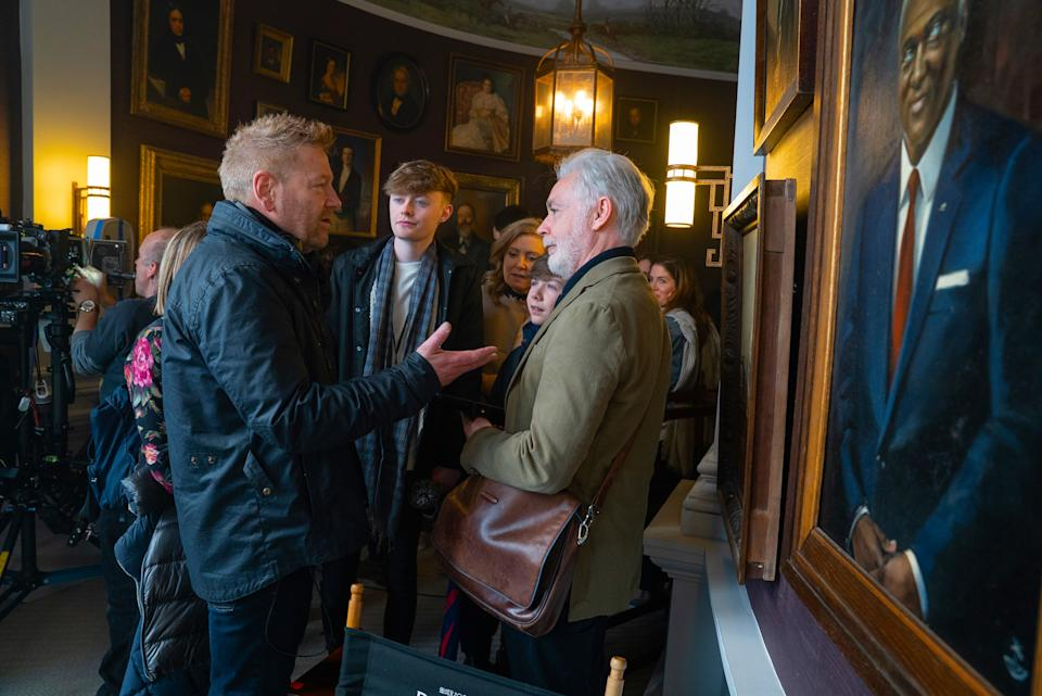 (L-R) Director Kenneth Branagh and book author Eoin Colfer on the set of Disney's ARTEMIS FOWL. Photo by Nicola Dove. © 2020 Disney Enterprises, Inc. All Rights Reserved.