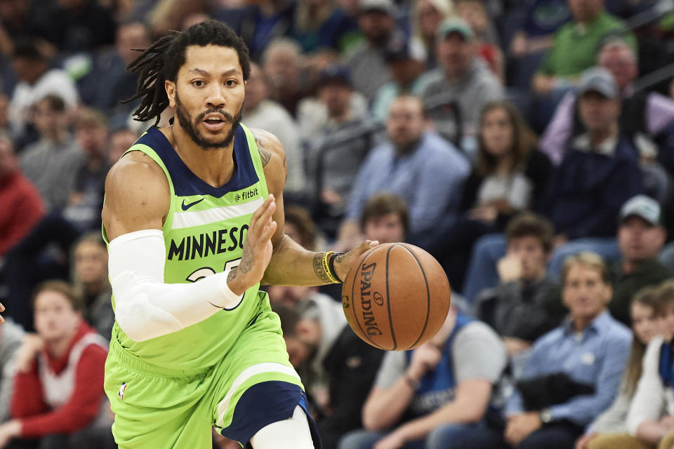 MINNEAPOLIS, MN - MARCH 09: Derrick Rose #25 of the Minnesota Timberwolves drives to the basket against the Washington Wizards during the game on March 9, 2019 at the Target Center in Minneapolis, Minnesota. NOTE TO USER: User expressly acknowledges and agrees that, by downloading and or using this Photograph, user is consenting to the terms and conditions of the Getty Images License Agreement. (Photo by Hannah Foslien/Getty Images)