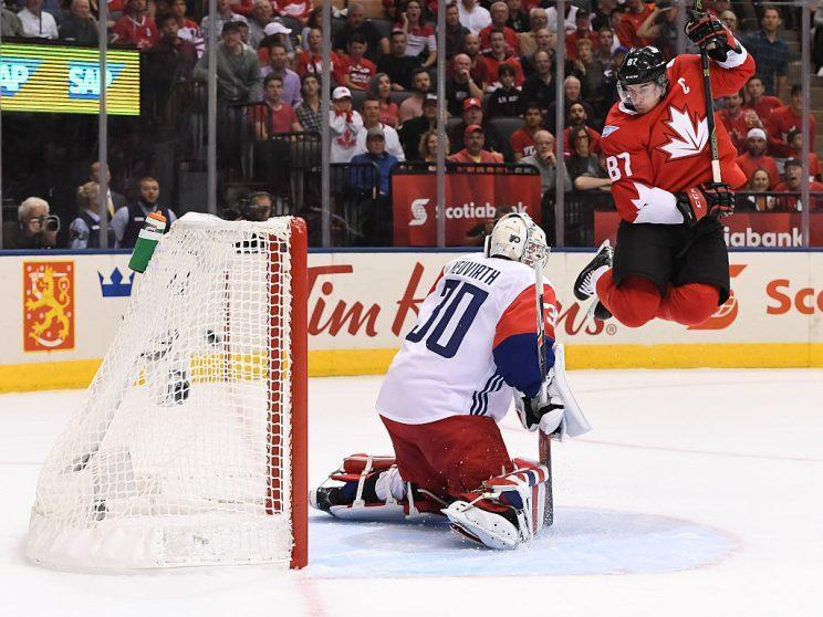 TORONTO, ON - SEPTEMBER 17: Sidney Crosby #87 of Team Canada jumps in front of Michal Neuvirth #30 of Team Czech Republic during the World Cup of Hockey 2016 at Air Canada Centre on September 17, 2016 in Toronto, Ontario, Canada. (Photo by Minas Panagiotakis/World Cup of Hockey via Getty Images)