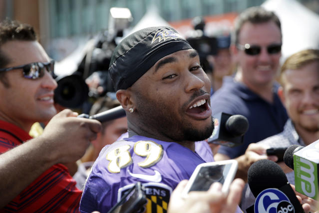 Retired wide receiver Steve Smith Sr. didn't leave Carolina empty-handed in 2014 when he joined the Baltimore Ravens. (AP)