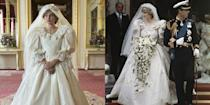 "<p>Fans of<em> The Crown</em> are in for a treat. When the series re-creates Princess Diana's fairytale wedding to Prince Charles, actress Emma Corrin will be wearing an almost exact replica of Diana's gown. ""The Emanuels, who designed the original, gave us the patterns, and then it was made for me,"" Corrin revealed to <em><a href=""https://www.vogue.co.uk/arts-and-lifestyle/article/emma-corrin-interview"" rel=""nofollow noopener"" target=""_blank"" data-ylk=""slk:British Vogue"" class=""link rapid-noclick-resp"">British Vogue</a></em>. ""I walked out and everyone went completely silent.""</p>"