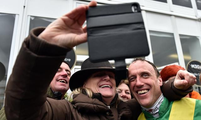 "<span class=""element-image__caption"">Gold Cup-winning jockey Robbie Power prompting social media comparisons with Arnold Schwarzenegger's appearance in The Terminator after his win at the Cheltenham Festival.</span> <span class=""element-image__credit"">Photograph: Cody Glenn/Sportsfile via Getty Images</span>"