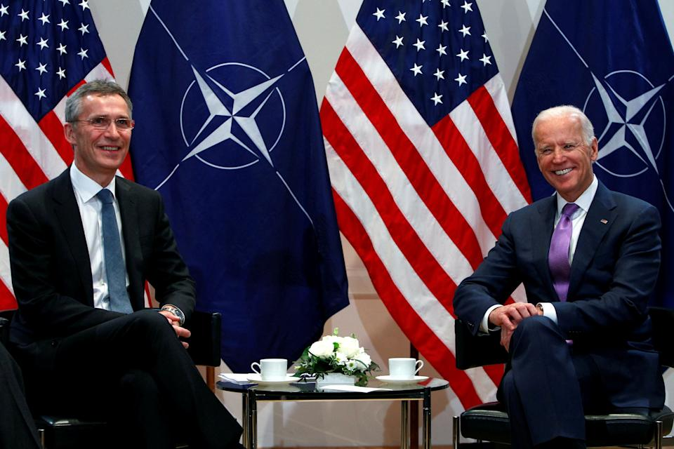 <p>Nato's secretary-general, Jens Stoltenberg, and the then US vice-president, Joe Biden, at the annual Munich Security Conference in 2015</p>Reuters