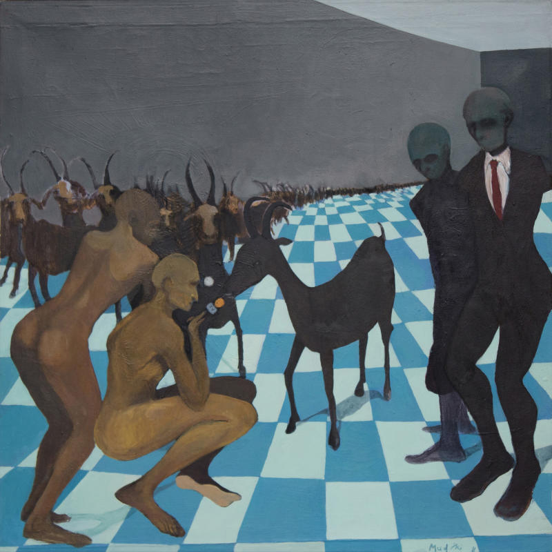 "This supplied photograph with permission granted to publish shows a reproduction of ""The Goat Interview"" produced in 2011 by emerging Zimbabwean artist Richard Mudariki.  Mudariki's colorful, modernist and abstract paintings reflect his upbringing, the social turmoil in his homeland, and the challenges the country still faces. Several pieces have been bought by the Equatorial Guinea Museum of Modern Art and are on display at the weekend's Joburg ArtFair, Africa's largest exhibition of contemporary African art. (AP Photo/Johans Borman Fine Art, HO)"