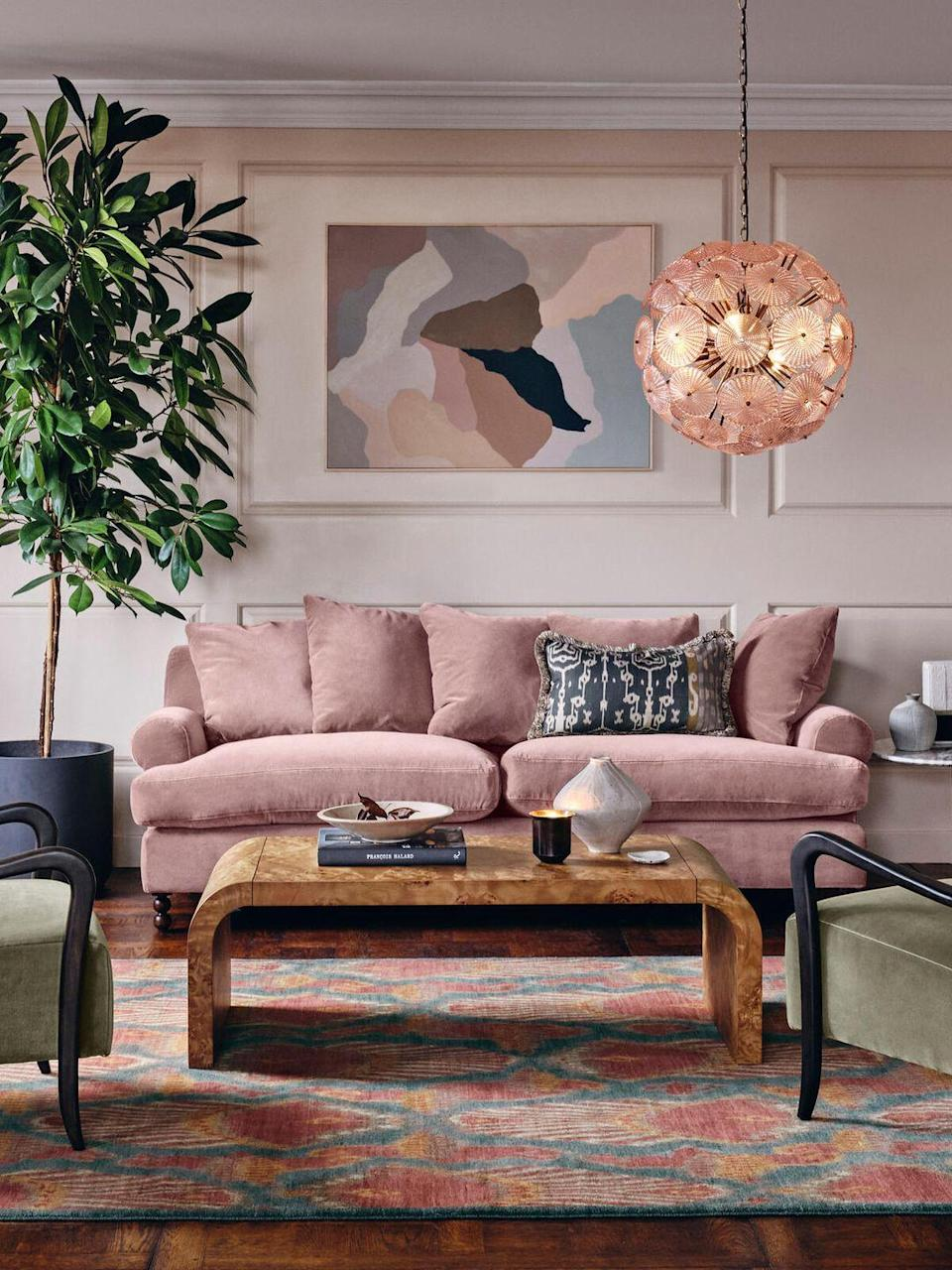 """<p>A surprising second place. Pink was the second most popular colour for sofas in 2021. Requiring a keener eye than simple grey to avoid an overly saccharine outcome, rich or chalky shades of pink in tactile fabrics – a textured wool or tweed – can be a versatile and sophisticated choice. <br></p><p>Pictured: <a href=""""https://go.redirectingat.com?id=127X1599956&url=https%3A%2F%2Fwww.sohohome.com%2Fproducts%2Faudrey-3-seater-sofa%2F74552910&sref=https%3A%2F%2Fwww.countryliving.com%2Fuk%2Fhomes-interiors%2Finteriors%2Fg37335592%2Fmost-popular-sofa-colours%2F"""" rel=""""nofollow noopener"""" target=""""_blank"""" data-ylk=""""slk:Audrey 3-Seater Sofa at Soho Home"""" class=""""link rapid-noclick-resp"""">Audrey 3-Seater Sofa at Soho Home</a></p>"""