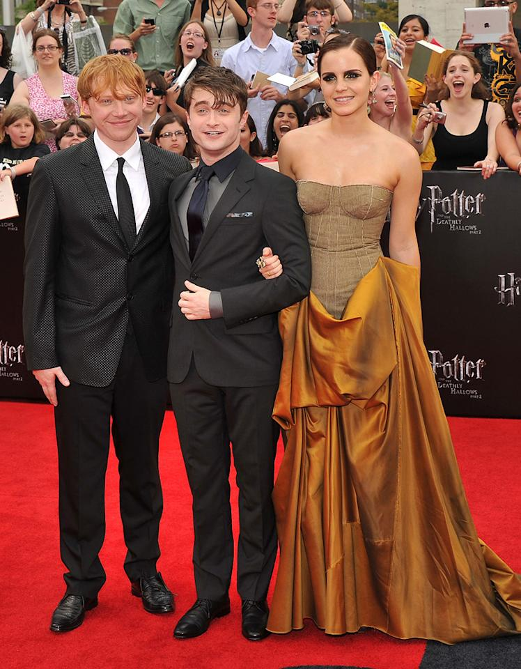 """<a href=""""http://movies.yahoo.com/movie/contributor/1802866082"""">Rupert Grint</a>, <a href=""""http://movies.yahoo.com/movie/contributor/1802866080"""">Daniel Radcliffe</a> and <a href=""""http://movies.yahoo.com/movie/contributor/1802866081"""">Emma Watson</a> at the New York City premiere of <a href=""""http://movies.yahoo.com/movie/1810004624/info"""">Harry Potter and the Deathly Hallows - Part 2</a> on July 11, 2011."""