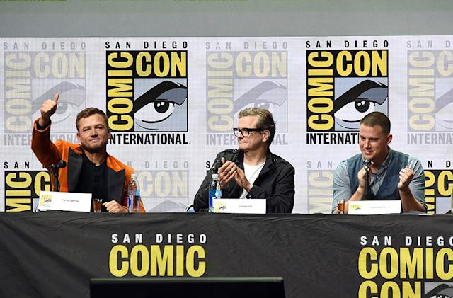<p>Taron Egerton, Colin Firth, and Channing Tatum at Fox Comic-Con panel on July 20, 2017, in San Diego. (Photo: Kevin Winter/Getty Images) </p>