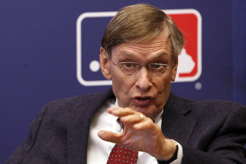 Major League Baseball Commissioner Bud Selig  gestures while speaking during a news conferencee  Thursday, April 21, 2011, in New York. Players who appeared for the major leagues for less than four years from 1947-79 will receive payments of up to $10,000 in each of the next two years under an agreement between Major League Baseball and the players' association. (AP Photo/Frank Franklin II)