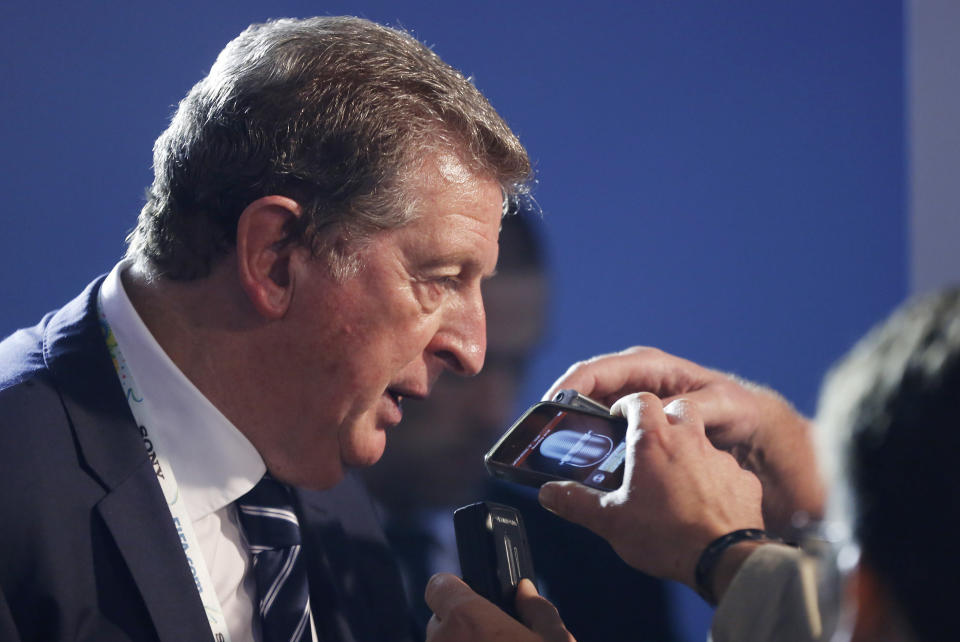 England manager Roy Hodgson answers questions after the draw ceremony for the 2014 soccer World Cup in Costa do Sauipe near Salvador, Brazil, Friday, Dec. 6, 2013. (AP Photo/Victor R. Caivano)