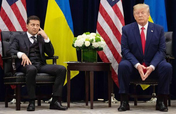 PHOTO: President Donald Trump and Ukrainian President Volodymyr Zelenskiy talk to the press during a meeting in New York, on Sept. 25, 2019, on the sidelines of the United Nations General Assembly. (Saul Loeb/AFP/Getty Images)