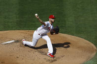 Philadelphia Phillies' Zack Wheeler pitches during the first inning of the first baseball game in doubleheader against the New York Yankees, Wednesday, Aug. 5, 2020, in Philadelphia. (AP Photo/Matt Slocum)