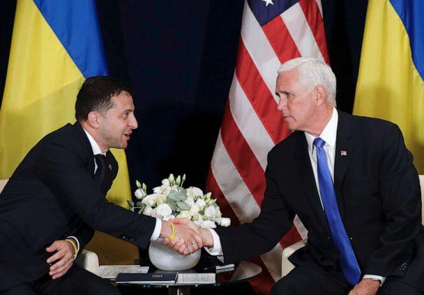 PHOTO: Ukraine's President Volodymyr Zelenskiy, left, shakes hands with Vice President Mike Pence, in Warsaw, Poland, Sept. 1, 2019. (Petr David Josek/AP)
