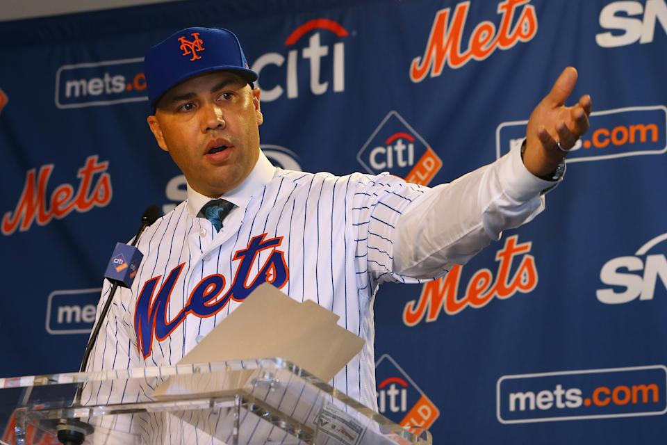 NEW YORK, NY - NOVEMBER 04: Carlos Beltran talks after being introduced as manager of the New York Mets during a press conference at Citi Field on November 4, 2019 in New York City. (Photo by Rich Schultz/Getty Images)