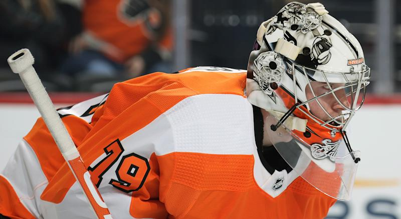 Carter Hart has been nearly unbeatable at home. On the road though? That's a different story. (Getty Images)