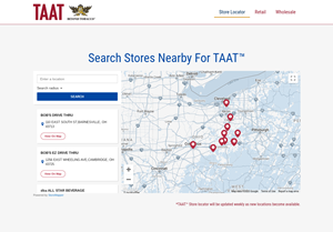 Store Locator feature on the TryTAAT landing page, where legal-aged smokers can locate a point of sale at which TAAT™ can be purchased