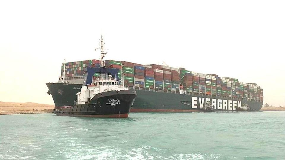 The Suez Canal blocked by the large container ship Ever Given