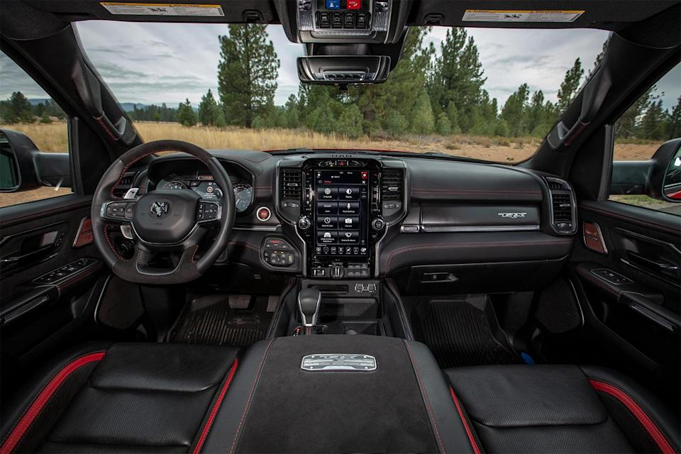 The two front seats in the interior of the 2021 Ram 1500 TRX pickup