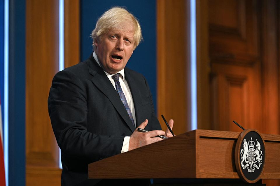British Prime Minister Boris Johnson at a virtual press conference on July 12. (Daniel Leal Olivias/Poo//AFP via Getty Images)