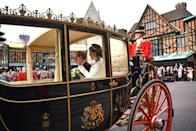 <p>The couple finished the ceremony with a short carriage ride around Windsor. Photo: Getty </p>